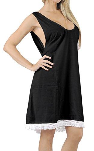 Black Tank Backless Loose Beach Dress Swimwear Swimsuit Bikini Cover Up M - L Valentines Day Gifts 2017