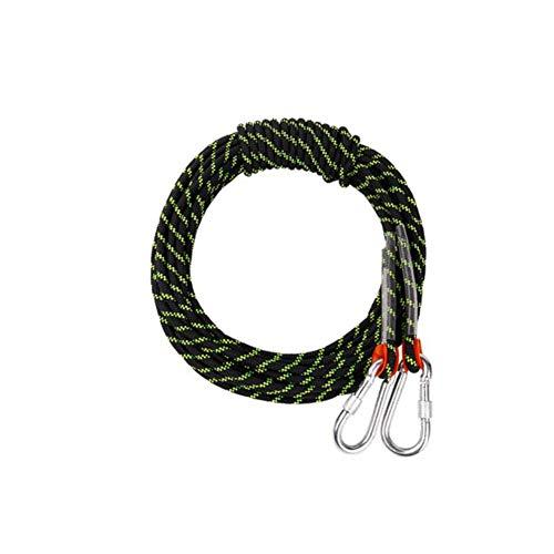 犬一時解雇する陽気なアウトドアクライミングロープ、ラップリングアブセイリングロープの安全丈夫な脱出静的ロープロープ、消防、ハイキング、10-100メートルのプロフェッショナルロックセーフティロープ (色 : ブラック, サイズ : 8 mm wide 50m long)
