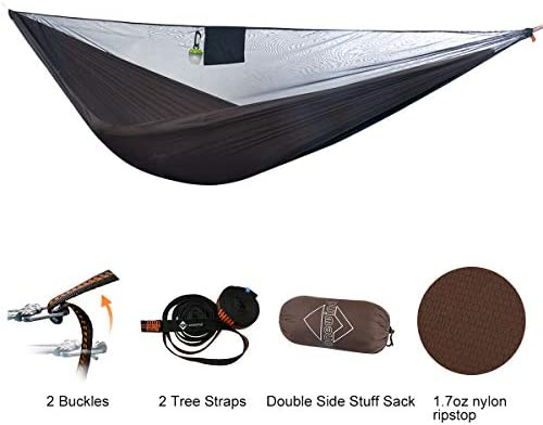 Lightweight Double Camping Hammock – Adjustable Tree Straps Ultralight Carabiners Included – Two Person Best Portable Parachute Nylon Hammocks for Hiking, Backpacking, Travel Backyard – Easy Setup