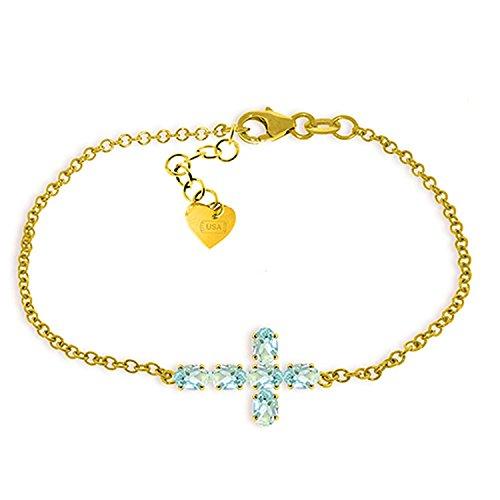 ALARRI 1.7 Carat 14K Solid Gold Cross Bracelet Natural Aquamarine Size 7 Inch Length 14k Marine Bracelet