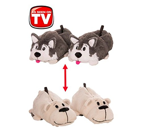 FlipaZoo 2-in-1 Husky to Polar Bear Plush Slippers by Jay at Play (Large)