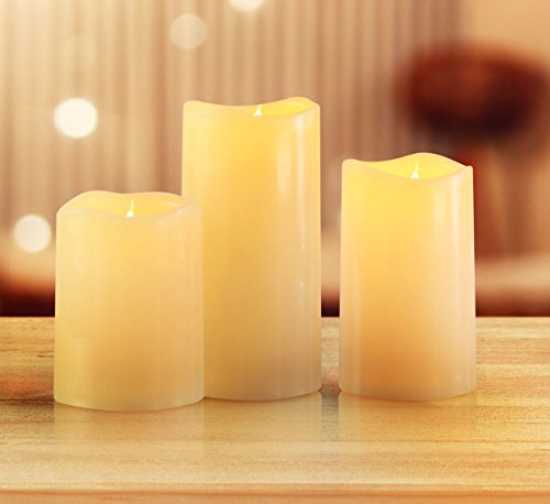 3' Small Pillar Candle (KMSdeco Outdoor Indoor LED Candles - Waterproof Battery Operated candles with Timer(No Remote) - Flickering Amber Yellow Flame Flameless Plastic candles - Ivory Color - set of 3(4