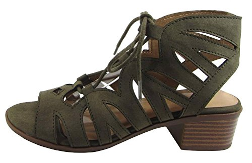 City Classified Womens Cut Out Caged Open Toe Chunky Stacked Heel Bootie Khaki Distressed Pu ZN5lqV1