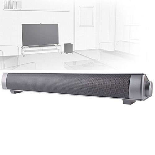 ELlight Bluetooth Small Sound Bar 3.0 Channel 15.7in 10W(2X5W) Wireless Subwoofer Stereo Speaker,Silver