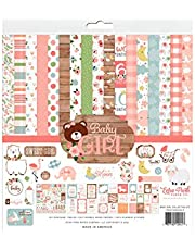 Echo Park Paper Company BAG202016 Baby Girl Collection Kit paper, pink, yellow, green, blue