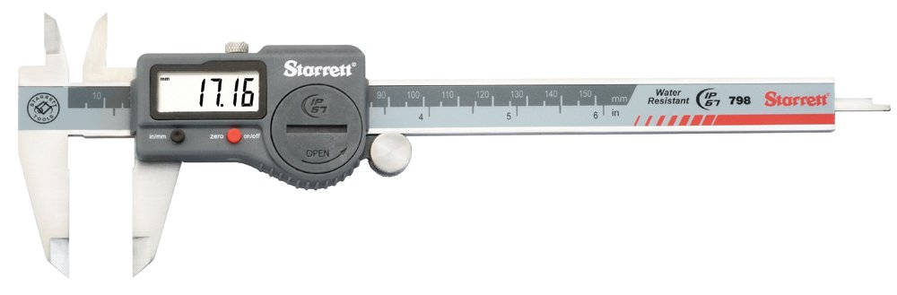 Starrett 798B-6/150 Digital Caliper, Stainless Steel, Battery Powered, Inch/Metric, 0-6'' Range, +/-0.001'' Accuracy, 0.0005'' Resolution, Meets DIN 862 Specifications
