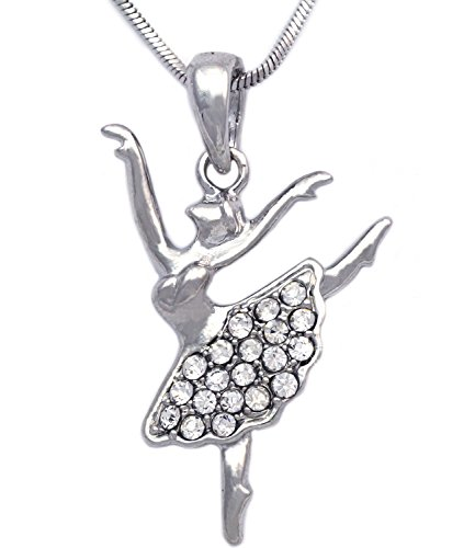 - cocojewelry Ballerina Ballet Dancer Passe Relever Pose Pendant Necklace Gift Box (Arabesque Clear)