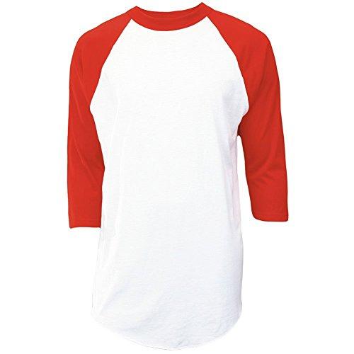MJ Soffe Men's 3/4 Sleeve Baseball Jersey, Large, White/Red ()