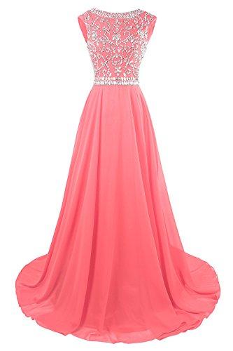 MsJune Long Prom Dresses Cap Sleeves Bridesmaid Wedding Guest Gowns Beaded Dress Hot Pink