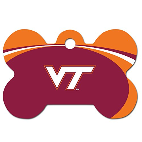 Personalized Laser Engraved 1.5 x 1 Inch Virginia Tech Hokies Bone Shaped Pet ID Tag - Free Tag Silencer