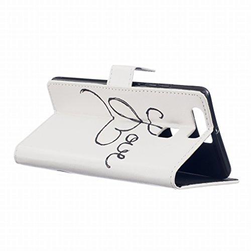 LEMORRY Huawei P9 Custodia Pelle Cuoio Flip Portafoglio Borsa Sottile Fit Bumper Protettivo Magnetico Chiusura Standing Card Slot Morbido Silicone TPU Case Cover Custodia per Huawei P9 (EVA-L09, EVA-L