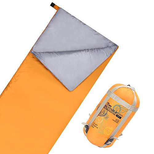 JBM Sleeping Bag with Compact Bag 3 Seasons 15℃/60℉ Multi Color Blue Green Insulated Waterproof and Repellent Envelope Printed Pattern (15℃/60℉ - Yellow, Single)