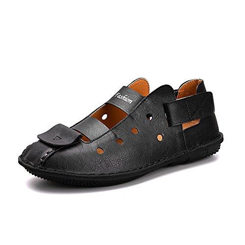Black sandali uomo Color pelle 40 regolabili Sandali Size Black da 2 antiscivolo traspiranti da 3 in spiaggia EU sandali PUqxFnfwx