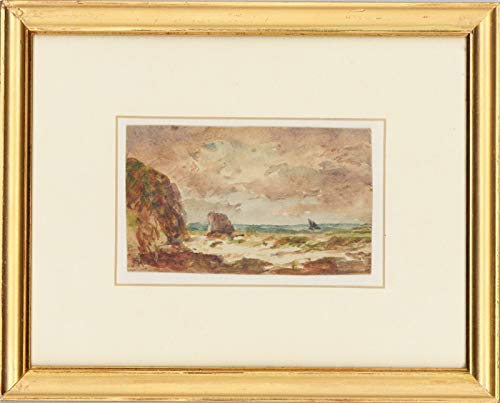 J.K. - Framed Early 20th Century Watercolour, Coast at Friog, North Wales
