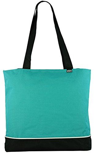 (Shoulder Tote Bag with Zipper (Teal))