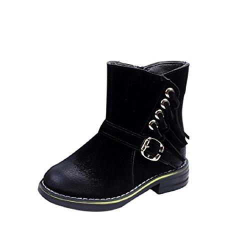 Fheaven Winter Girls Child Army Style Martin Boot Warm Shoes for 1~6Age (US:8-8.5, Black) (Combat Child Boots)