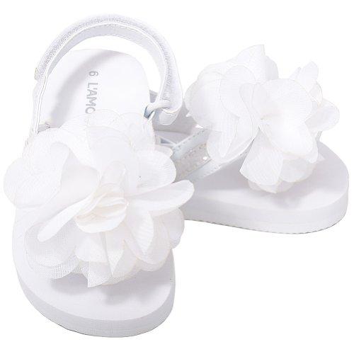 L'Amour Toddler Girls 8 White Sequin Strap Flower Flip Flop Sandals (Sequin Flowers Sandals)