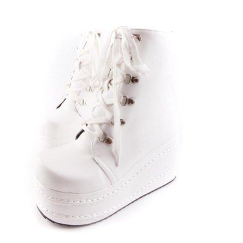 Bedel Voet Fashoin Dames Platform Sleehak Chukka Boots Western Boots Wit