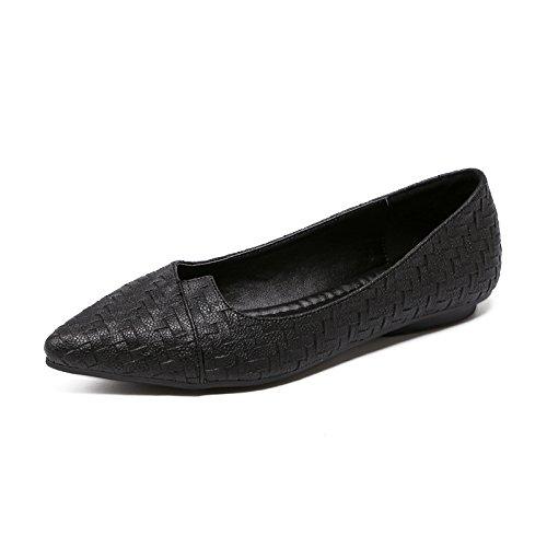 Plano Femeninos Solo Zapatos Negro Xue Mujeres Qiqi Zapatos Bajos Intermitente luz de con versátil con Plana Calzado Calzados Punta trayectos y de de AA1SryqEwP