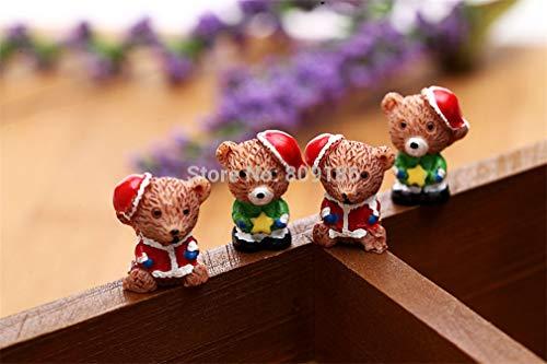 10Pcs Resin Christmas Bear/Santa Claus Anime Figures Miniature/Fairy Garden Figurine Dolls House Kids Toys DIY Accessories Green