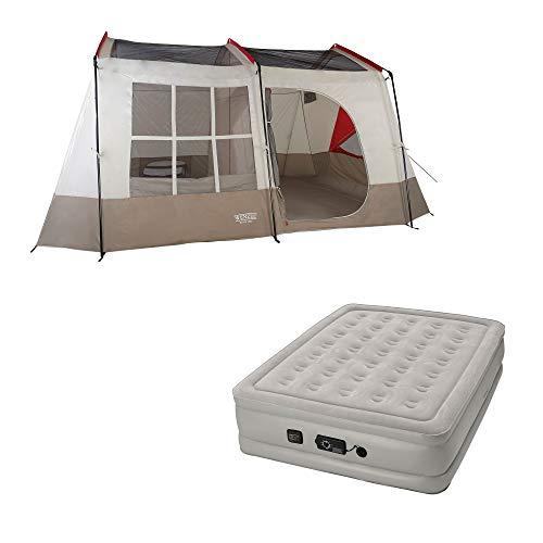 (Wenzel Kodiak 9-Person Family Camping Tent w/Insta-Bed Queen Air Mattress Pump)