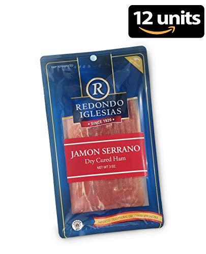 Jamon Serrano - Sliced 3 oz - Redondo Iglesias - 15 months aged dry cured ham - Spain Gourmet Delicatessen - 12 units