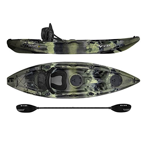 Vibe Kayaks Skipjack 90 | 9ft Angler - Single Person, Sit On Top Fishing Kayak w/Paddle & Deluxe Padded Kayak Seat