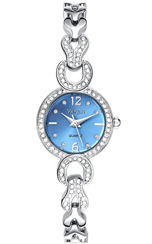 (INWET Rhinestone Bracelet Watch for Women,Blue Dial Crystal Indexes,Slim Stainless Steel Watch Band,Girls Bracelet Watch)