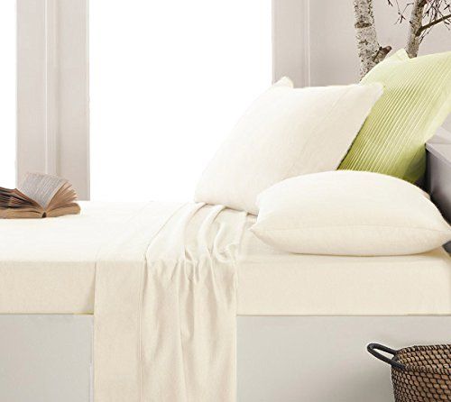 Luxury Thermal Flannelette Flat Sheets, 100% Brushed Cotton - DOUBLE White Lancashire Textiles
