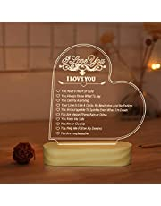 Romantic Gifts,I Love You 3D Illusion Night Light Warm White LED Bedside Table Lamp for Girlfriends Wife Room Decor