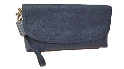 Coach Park Denim Blue Leather Large Flap Wristlet