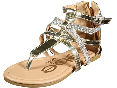 bebe Girls Metallic Gladiator Sandals with Rhinestone Straps, Gold, Size 2 M US Little Kid'