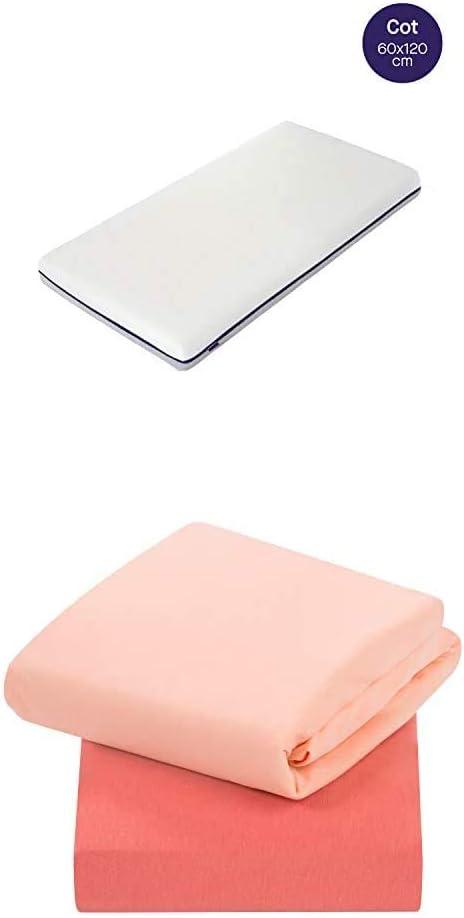 ClevaMama Colchón Transpirable Airgo para Cunas de Bebé y 2 Sábanas bajeras Elásticas algodón Coral, 60 x 120 cm (bundle): Amazon.es: Bebé