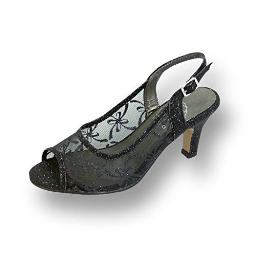 Violet Womens Dress Heels Shoes (FIC FLORAL Violet Women Wide Width Slingback Mesh Pump BLACK 11)