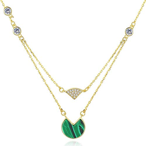 QMM necklace Pendant Gold Color Popular Necklaces Fine Jewelry for Women Pure 925 Sterling Silver&Malachite Pendant Necklace Anniversary