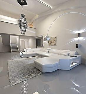Sofa Dreams Leder Wohnlandschaft Monza U Form Schwarz Weiss Amazon
