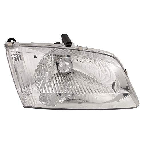 HEADLIGHTSDEPOT Chrome Housing Halogen Headlight Compatible with Mazda 626 2000-2002 Includes Right Passenger Side - Passenger Side Headlight 626 Mazda