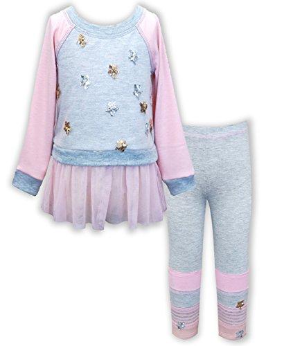 Rock & Clay Little Girls' Embellished Long Sleeve Top & Leggings Set, 12M-24M & 2T-6X (6X, Soft Pink) - Sara Girls Clothing