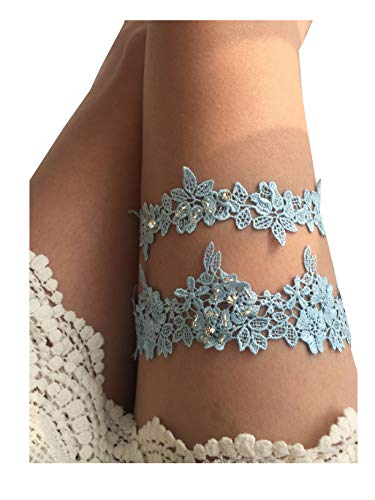 YuRong Wedding Flower Garter Rhinestone Garter Bridal Leaf Garter G06 (Blue) by YuRong