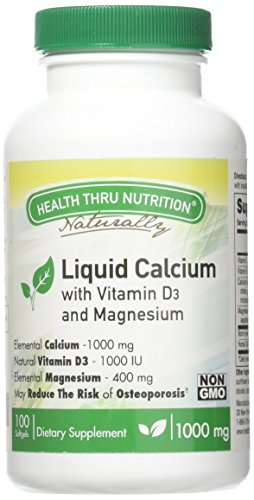 400 Iu 100 Softgel Capsules - Liquid Calcium and Magnesium with 1000 IU D3, Vitamin K, Non-GMO, Soy-Free (100 Softgels)