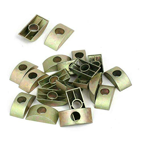 AKOAK 20 Count 8mm Hole Dia Bronze Tone Furniture Connector Nuts Half Moon Nuts Spacer Washer for Connect Furniture ()