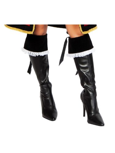 [Roma Costume Deluxe Dread Pirate Penny Boot Cover, Black, One Size] (Pirate Costumes Boot Covers)