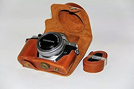 Clanmou EM10 Mark II Protective Camera Bag Compatible Olympus OM-D E-M10 M2(14-42mm) Leather Camera Case Cover with Camera Shoulder Strap Black MIGOL GOCA86