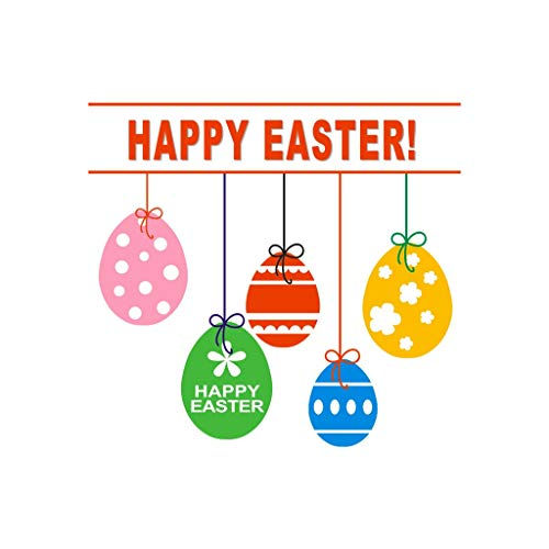 ♚Rendodon♚ Easter, Easter Decoration Gift, Happy Easter Egg Decoration Wall Sticker, Happy Easter Rabbit Vinyl Decal Art Wall Sticker DIY Home Room Decor (Multicolor) from ♚Rendodon♚