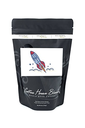 Icon Rockets - Rocket - Icon (8oz Whole Bean Small Batch Artisan Coffee - Bold & Strong Medium Dark Roast w/ Artwork)