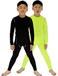 2 Packs Kids Boys & Girls Long Sleeve Running Compression Shirts and Pants Set Youth Dry Fit Athletic Base Layer