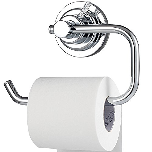 BOPai Modern Vacuum Suction Cup Toilet Paper Holder,Removable Bracket for Bathroom - Toilet Chrome Glass Paper Holder