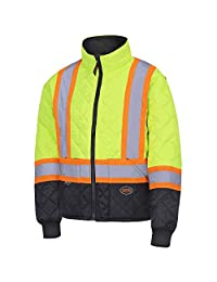 Pioneer V1170160-XS High Visibility Quilted Freezer Jacket, Yellow-Green, XS