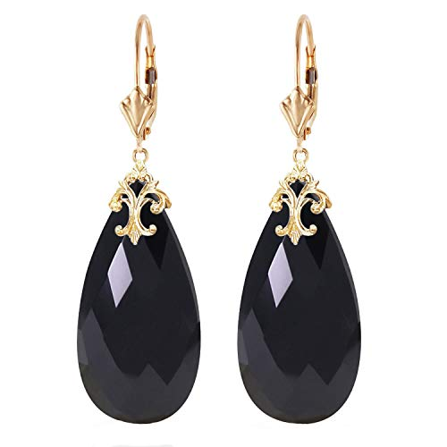 Dangling Onyx Earrings - Galaxy Gold 14k Yellow Solid Gold Lever Back Dangling Earrings with Briolette 31x16 mm Natural Black Onyx