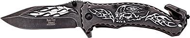 Dark Side Blades Taschenmesser, Stonewashed Silver Skull, Klingenlänge: 8,89 cm, DSBL-1044